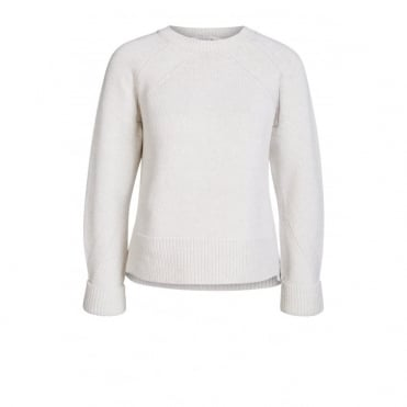 Round Neck Knitted Pullover in Off White