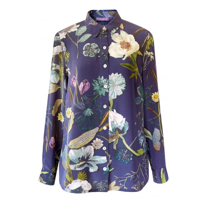 PAZUKI Botanical Crepe De Chine Shirt in Navy