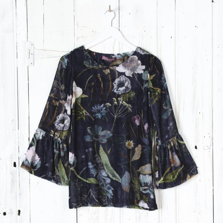 PAZUKI Botanical Velvet Shirt in Navy