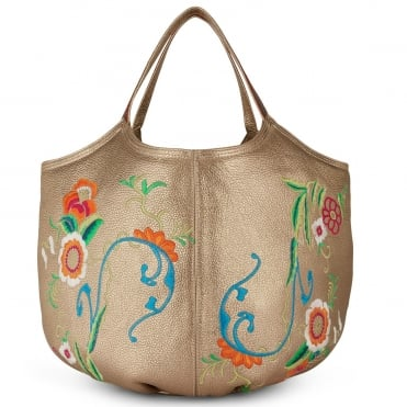 Embroidered Pillow Bag in Champagne