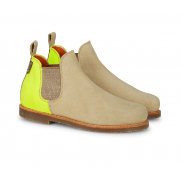 Fluro Suede Safari Boot in Sand/Yellow