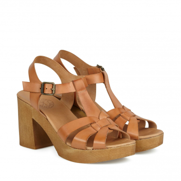 Jude Wooden Sole Heel Sandal in Tan