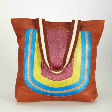 Leather Rainbow Pocket Tote Bag in Cognac