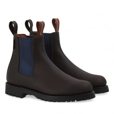 Nelson Leather Boot in Brown/Blue