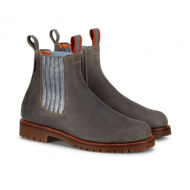 Oscar Leather Boot with Metallic Side in Slate and Blue