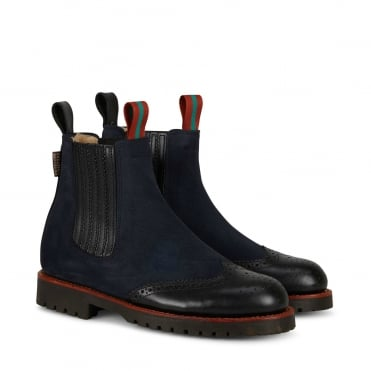 Oscar Suede Brogue Tip Boot in Navy/Black