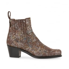 Salva Metallic Snake Boot in Topaz