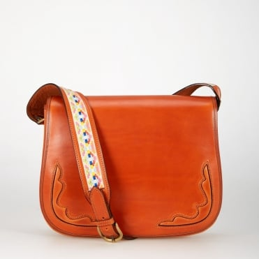 Smooth Saddle Bag with Two Tapestry Straps in Cognac