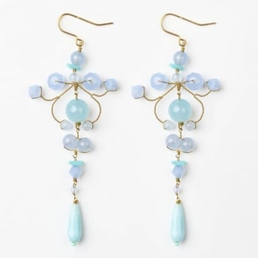 B Earring in Pale Blues 0717