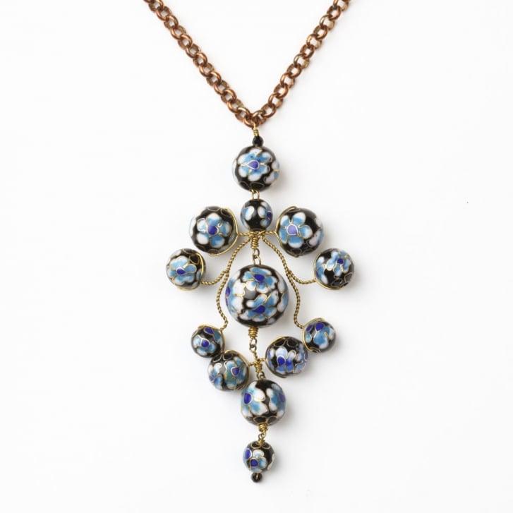 PHILIPPA KUNISCH Flower Gypsy Chain Necklace in Black +Blue 0717