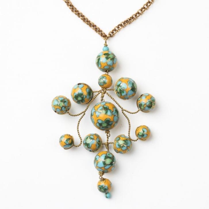 PHILIPPA KUNISCH Flower Gypsy Chain Necklace in Mustard +Green 0717
