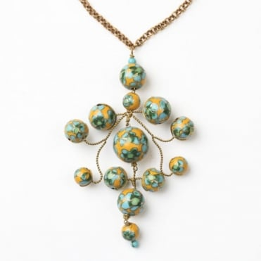 Flower Gypsy Chain Necklace in Mustard +Green 0717