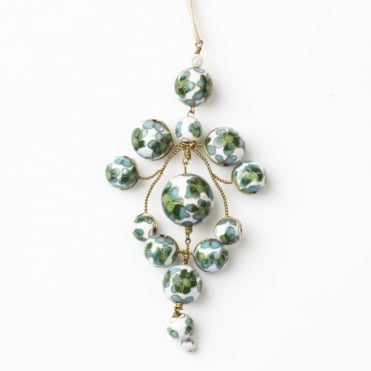 Flower Gypsy Necklace in White +Green 0717