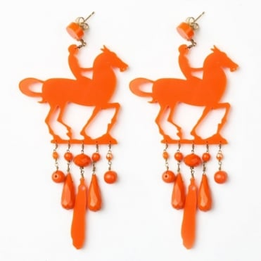 Horse Earrings in Orange /0717