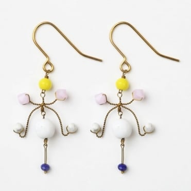 Kite Earrings in White +Pink/0717