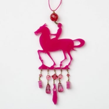 Little Horse Necklace in Hot Pink 0717