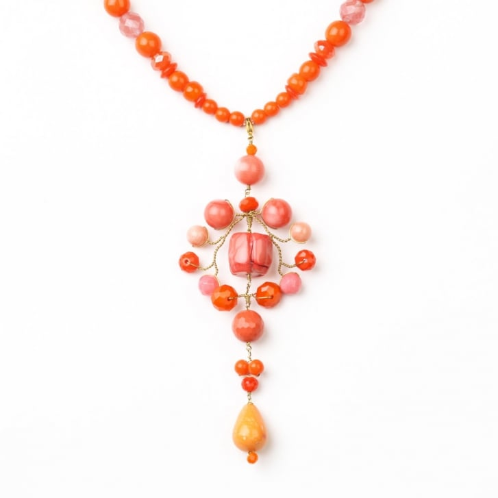 PHILIPPA KUNISCH Long Pudt Necklace in Orange + Red 0717