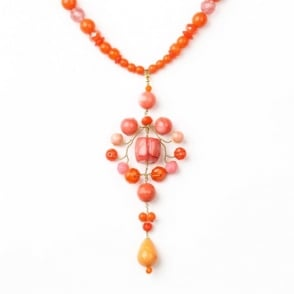 Long Pudt Necklace in Orange + Red 0717