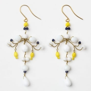 Loren Earrings in White and Yellow 0717
