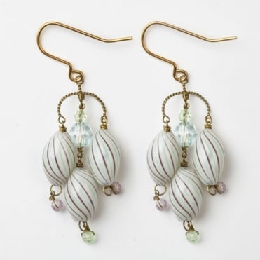Lozenge Earrings in Pale Green + Purple Stripe 0717