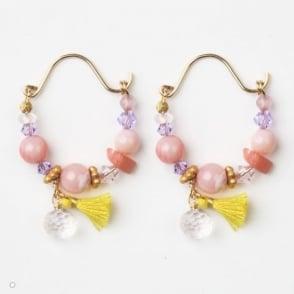 Mini Gypsy Hoop Earrings in Pink 0717