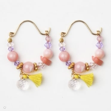 Mini Gypsy Hoop Earrings in Pink 0717
