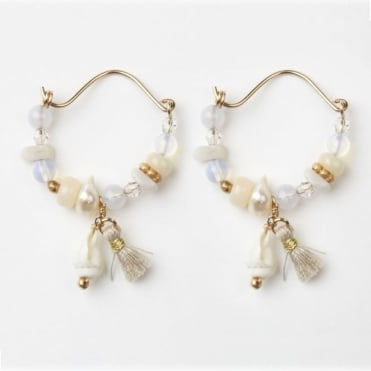 Mini Gypsy Hoop Earrings in Shell 0717