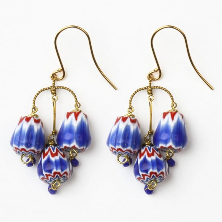 PHILIPPA KUNISCH S Bell Trade Bead Earrings with Small Blue Beads/0717