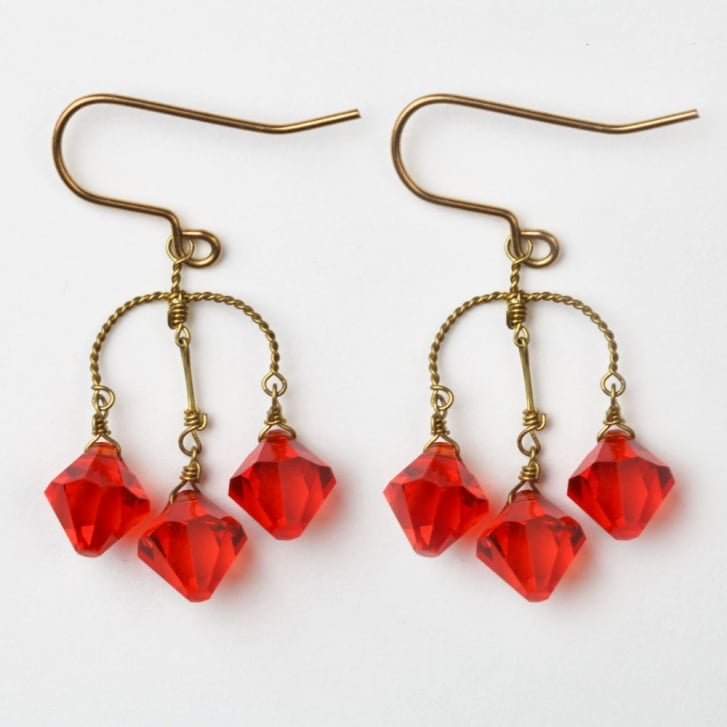 PHILIPPA KUNISCH S Diamond Crystal Earrings in Red 0717