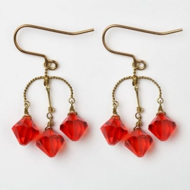 S Diamond Crystal Earrings in Red 0717