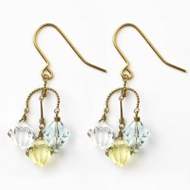 Small Diamond Earrings in Aqua + Lemon 0717