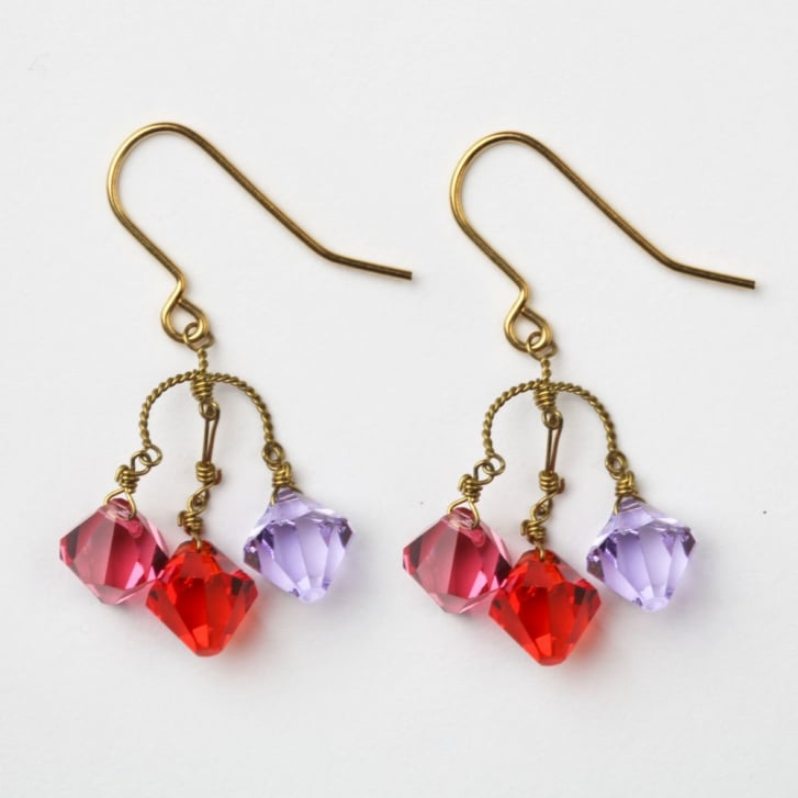 PHILIPPA KUNISCH Small Diamond Earrings in Red + Purple 0717