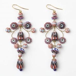 XL Loren African Trade Bead Earring in Blue +Red /0717