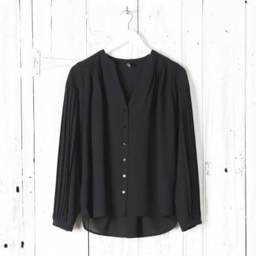 Pleated Button Up Blouse