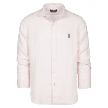 Linen L/S Sport Shirt in Pale Pink