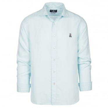Linen L/S Sport Shirt in Pale Turquoise
