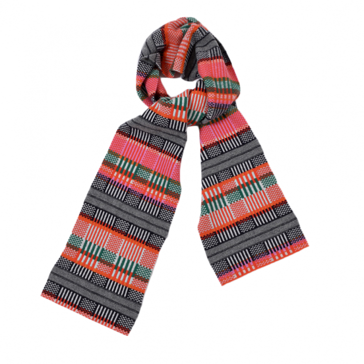 QUINTON & CHADWICK Grid Scarf in Rainbow & Red