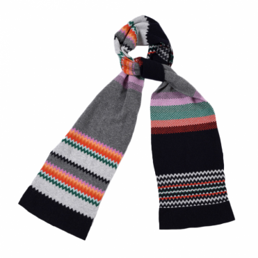 Zig Zag Scarf in Rainbow & Red