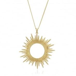Electric Goddess Long Gold Sun Ray Pendant
