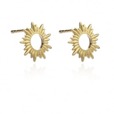 Electric Goddess Sun Ray Gold Stud Earrings