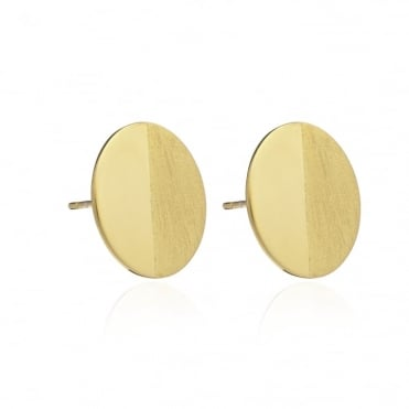 Lunar Moon Gold Stud Earrings