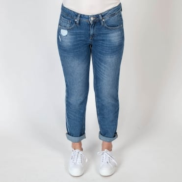 Boyfriend Jean with Piping in Stonewash