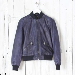 Afina Leather Jacket in Night Blue