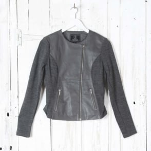Andorra Leather Jacket in Grey