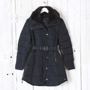 Blush Faux Memory Faux Fur Coat in Navy Blue