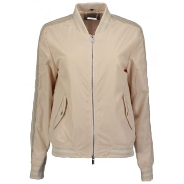 Bomber Jacket with Metallic Trim in Baby Pink