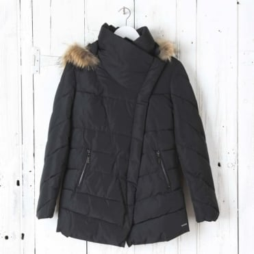 Calva Faux Memory Coat with Real Fur in Black