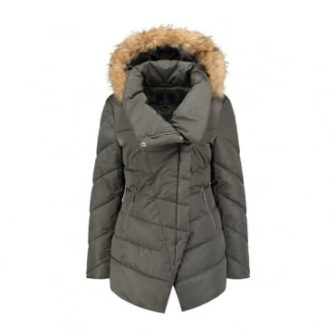 Calva Faux Memory Coat with Real Fur in Urban Green