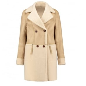 Deena Faux Suede Coat in Beige