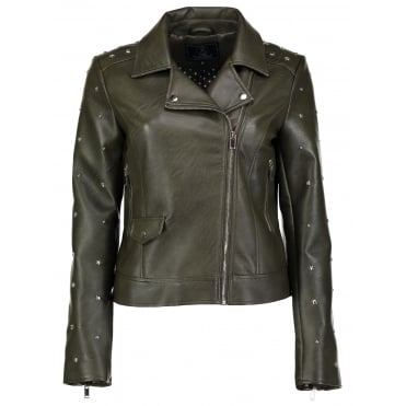 Faux Leather Studded Sleeve Biker in Olive